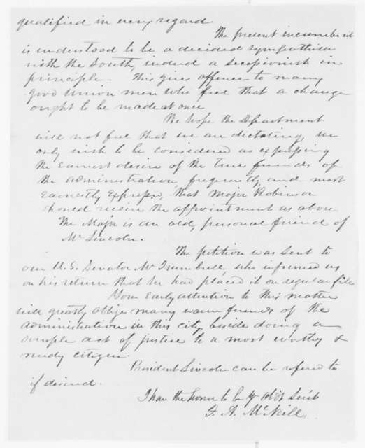 Francis A. McNeill to Caleb B. Smith, Tuesday, June 25, 1861  (Recommendation)