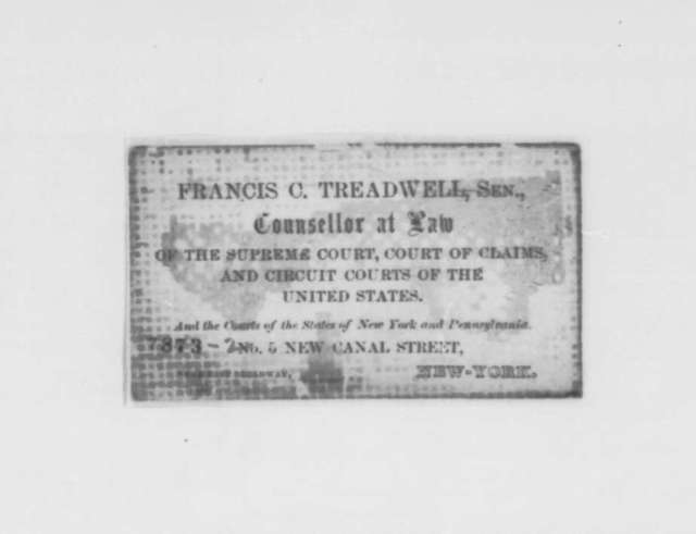 Francis C. Treadwell Sr. to Abraham Lincoln, Thursday, March 07, 1861  (Seeks to indict secessionists for treason)