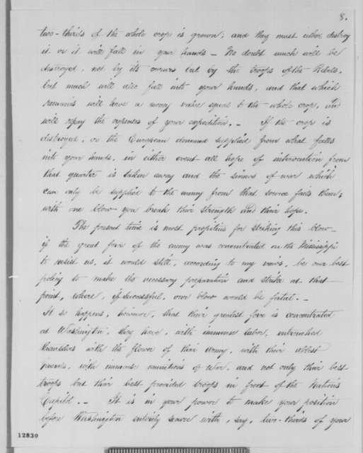 Francis P. Blair Jr. to George B. McClellan, Monday, November 04, 1861  (Memorandum; endorsed by Abraham Lincoln)