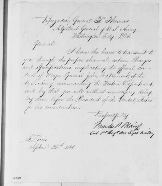 Francis P. Blair Jr. to Lorenzo Thomas, Thursday, September 26, 1861  (Formal charges against Fremont)