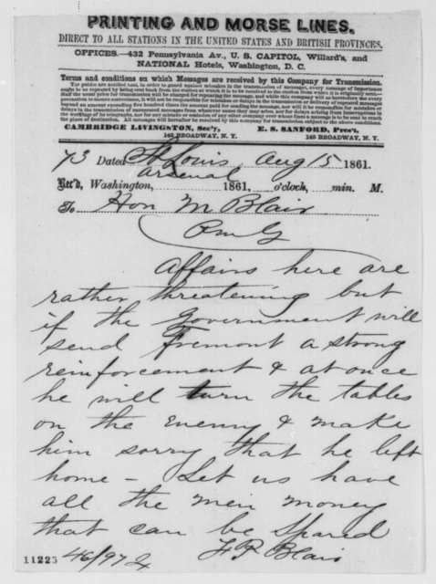 Francis P. Blair Jr. to Montgomery Blair, Thursday, August 15, 1861  (Telegram reporting situation in Missouri)