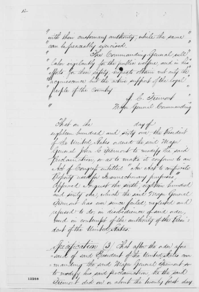 Francis P. Blair Jr., Wednesday, October 02, 1861  (Charges against Fremont; with copies of charges against Blair and correspondence)