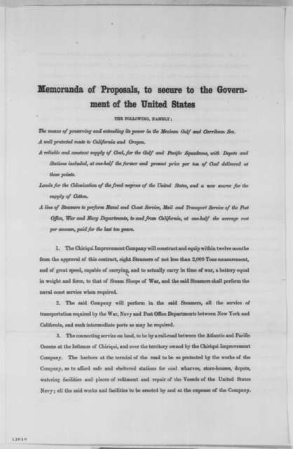 Francis P. Blair Sr., Saturday, November 16, 1861  (Printed Memoranda regarding Chiriqui Improvement Co.; with endorsement by Francis P. Blair Sr.)