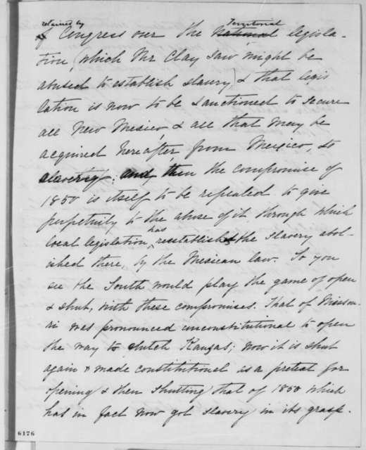 Francis P. Blair Sr. to Abraham Lincoln, Monday, January 14, 1861  (Compromise with South)