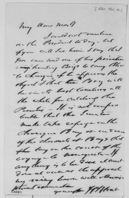 Francis P. Blair Sr. to Montgomery Blair, Saturday, November 16, 1861  (Chiriqui Improvement Co.)