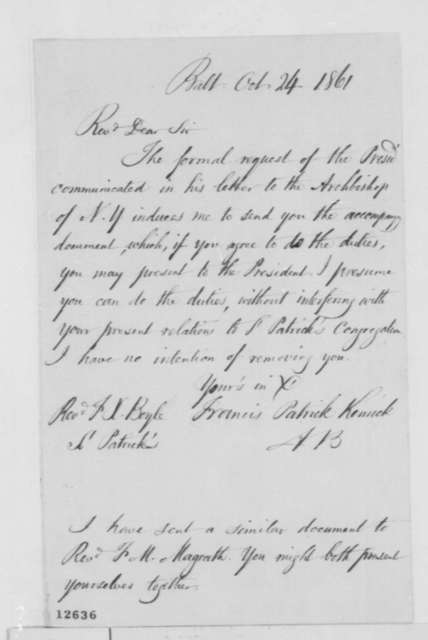 Francis P. Kenrick to Francis X. Boyle, Thursday, October 24, 1861  (Cover letter)
