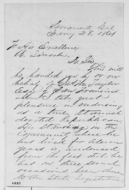 Frank F. Fargo to Abraham Lincoln, Monday, January 28, 1861  (Introduction)