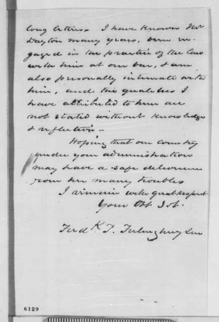 Frederick T. Frelinghuysen to Abraham Lincoln, Saturday, January 12, 1861  (Recommends William Dayton for cabinet)