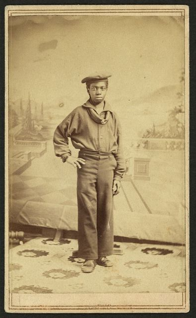 [Full-length portrait of an African American sailor, facing front] / from Ball & Thomas Photographic Art Gallery, 120 West Fourth St. near Race, Cincinnati.