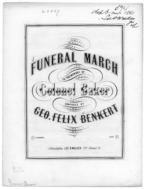 Funeral march to the memory of Colonel Baker
