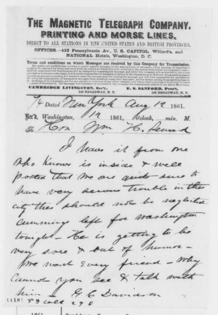 G. C. Davidson to William H. Seward, Monday, August 12, 1861  (Telegram reporting rumor of trouble in New York)