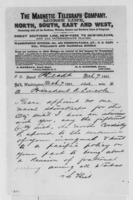 G. L. Vliet to Abraham Lincoln, Thursday, March 07, 1861  (Telegram seeking an interview)