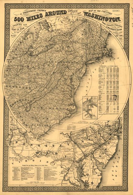 G. Woolworth Colton's map of the country 500 miles around the city of Washington showing the seat of war in the East