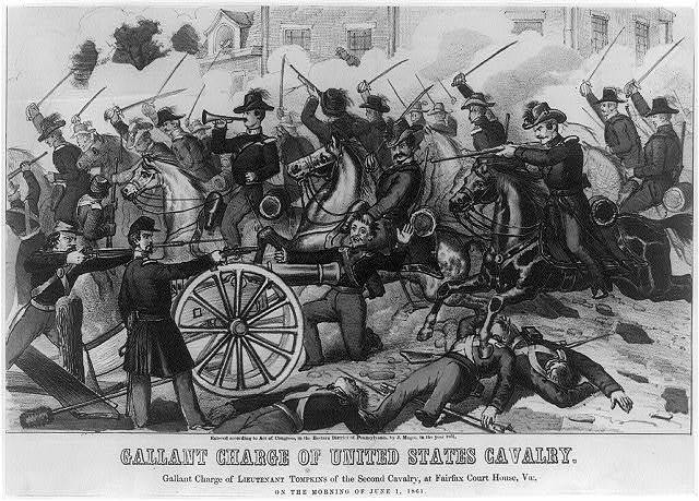 Gallant charge of United States cavalry. Gallant charge of Lieutenant Tompkins of the second cavalry, at Fairfax Court House, Va., on the morning of June 1, 1861