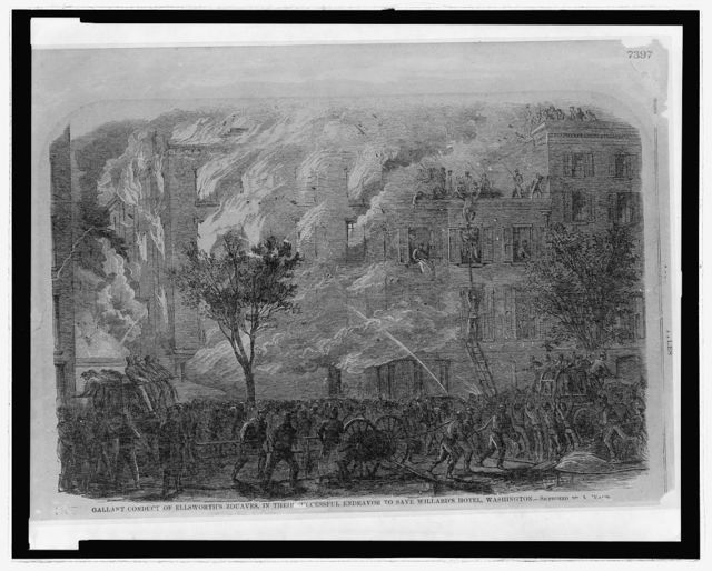 Gallant conduct of Ellsworth's Zouaves, in their successful endeavor to save Willard's Hotel, Washington / sketch by A. Waud.