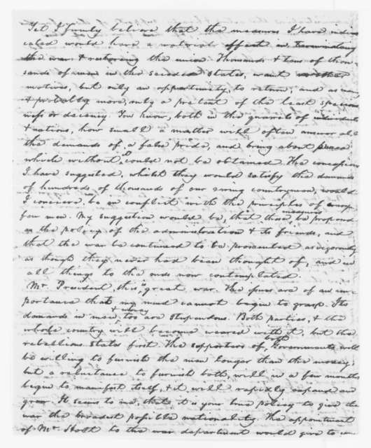 Garrett Davis to Abraham Lincoln, Sunday, August 04, 1861  (Political and military affairs)