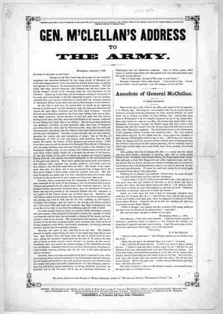 Gen. M'Clellan's address to the army … Alexander & Co., publishers, 619 Jayne Street, Philadelphia.