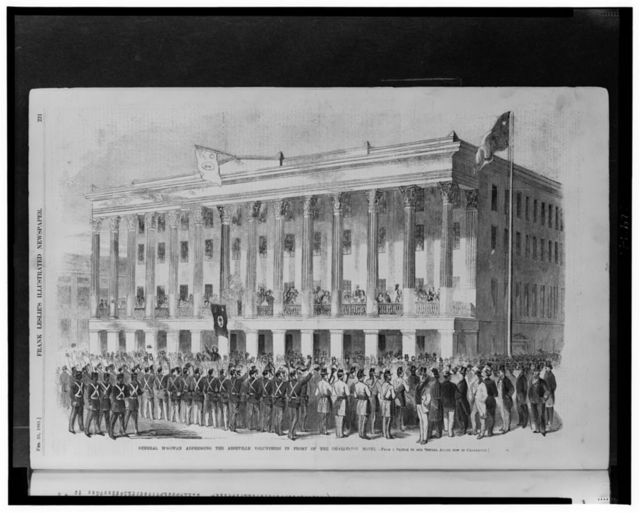 General McGowan addressing the Abbeville Volunteers in front of the Charleston Hotel / from a sketch by our special artist now in Charleston.