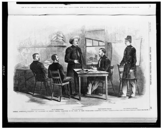General Rosencranz, [i.e. Rosecrans] commanding the Department of Western Virginia, surrounded by his staff, at their headquarters, Clarksburg, Va. / from a sketch by our special artist with General Rosencranz's [i.e. Rosecrans] command.