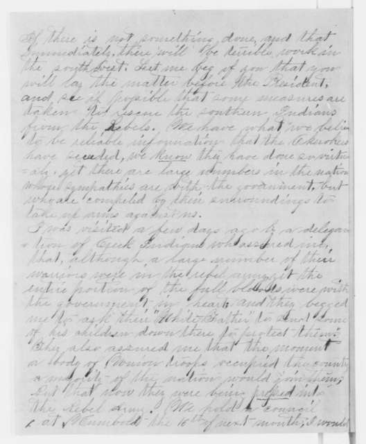 George A. Cutler to William P. Dole, Monday, October 21, 1861  (Fear that Cherokees will invade Kansas)