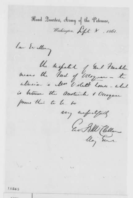 George B. McClellan to Abraham Lincoln, Sunday, September 08, 1861  (Military affairs)