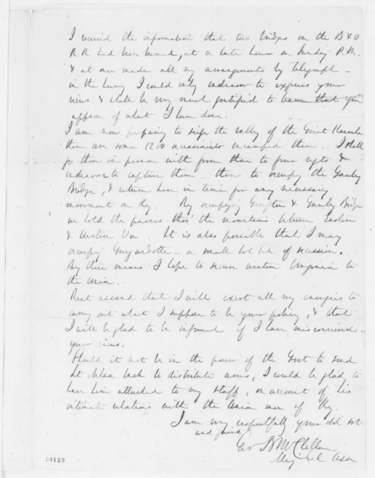George B. McClellan to Abraham Lincoln, Thursday, May 30, 1861  (Situation in Kentucky)