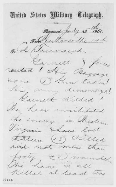 George B. McClellan to E. D. Townsend, Monday, July 15, 1861  (Telegram reporting military success)
