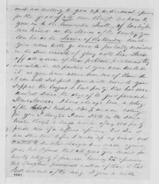 George D. Hastings to Abraham Lincoln, Wednesday, January 23, 1861  (Support)