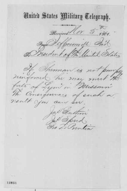 George D. Prentice, James Guthrie,  and James Speed to Abraham Lincoln, Tuesday, November 05, 1861  (Telegram regarding military affairs in Kentucky)