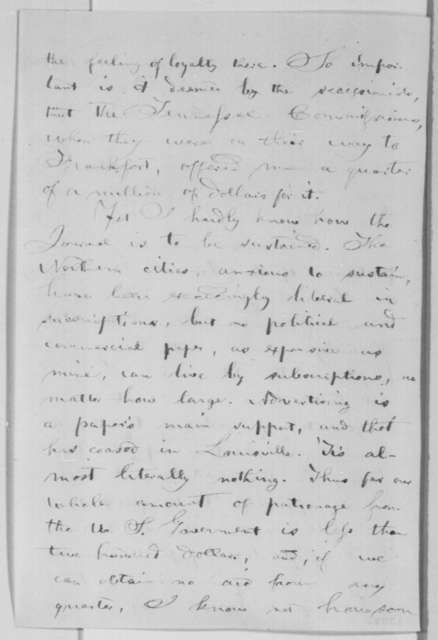 George D. Prentice to Abraham Lincoln, Saturday, November 16, 1861  (Importance of the Louisville Journal)