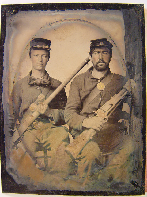 [George Gray of Company K, 38th Regiment of the Ohio Volunteers and unidentified soldier in Union uniform and forage cap with rifles including Colt 1855 carbine]