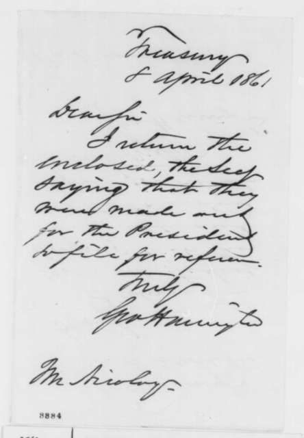 George Harrington to John G. Nicolay, Monday, April 08, 1861  (Cover letter)