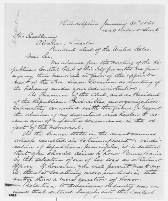 George I. Riche to Abraham Lincoln, Thursday, January 31, 1861  (Recommends Cameron for Secretary of Treasury)