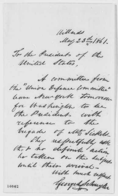 George L. Schuyler to Abraham Lincoln, Thursday, May 23, 1861  (Military affairs)