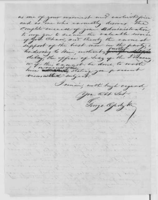 George Opdyke to Abraham Lincoln, Thursday, January 24, 1861  (Report of meeting with Chase)