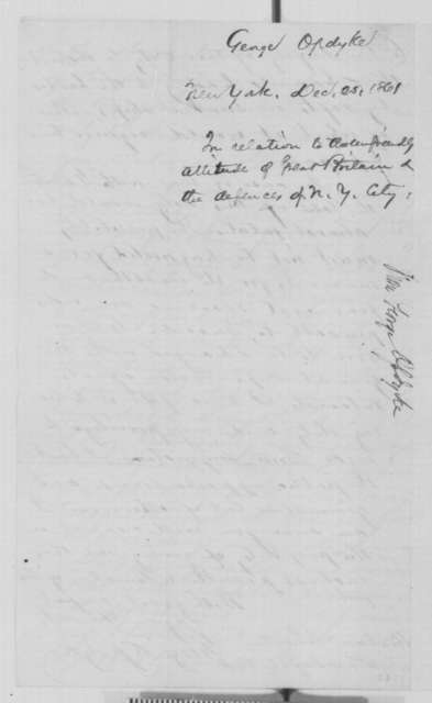George Opdyke to Abraham Lincoln, Wednesday, December 25, 1861  (Relations with Britain and defense of New York City)