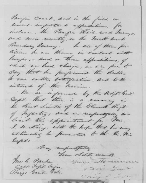 George Stoneman and John G. Parke to Simon Cameron, Saturday, December 07, 1861  (Recommendation; endorsed by James A. McDougall, Dec. 9, 1861)