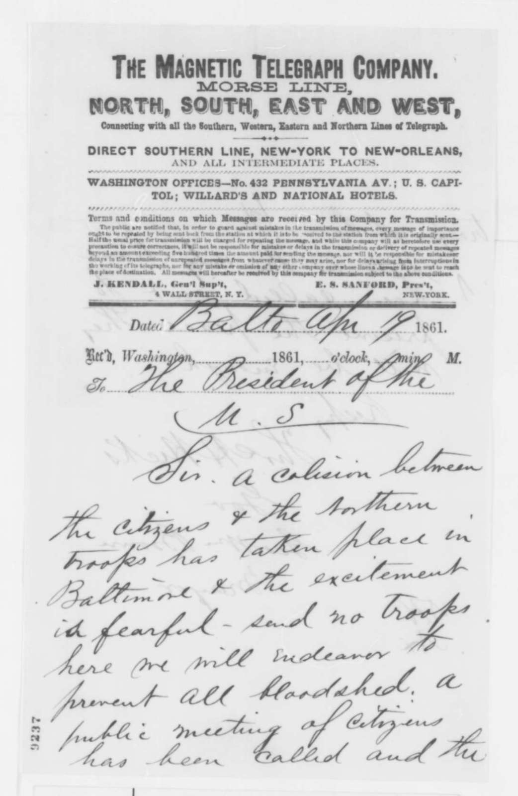 George W. Brown and Thomas H. Hicks to Abraham Lincoln, Friday, April 19, 1861  (Telegram reporting conflict between citizens of Baltimore and soldiers)