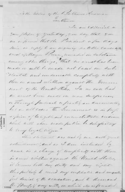 George W. Brown to Baltimore American, Sunday, September 22, 1861  (Imprisonment at Fort Monroe)