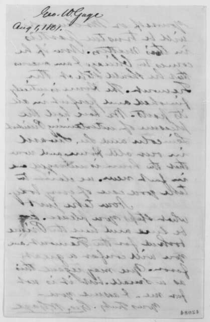 George W. Gage to John G. Nicolay, Thursday, August 01, 1861  (Wants Prince Napoleon to stay at Tremont House)