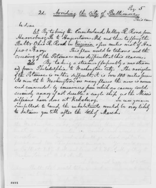 George W. Hazzard to Abraham Lincoln, [January 1861]  (Outlines trip to Washington and security consideration)