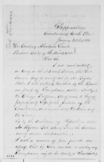 George W. Himes to Abraham Lincoln, Friday, January 25, 1861  (Recommends Thaddeus Stevens for cabinet)