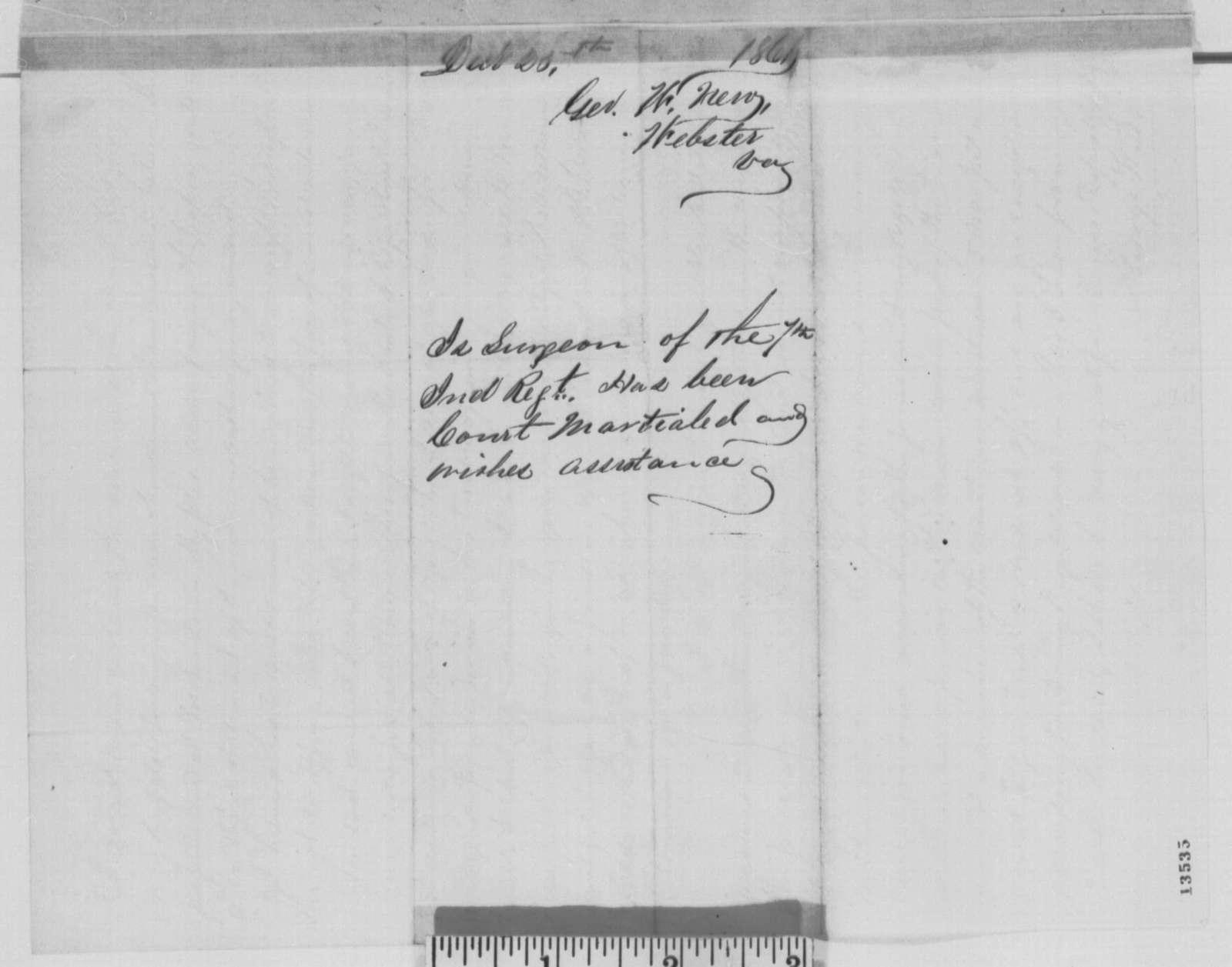 George W. New to Caleb B. Smith, Monday, December 23, 1861  (Seeks reinstatement as a regimental surgeon)