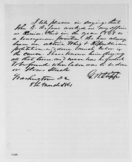 George W. Stipp to Unknown, Friday, March 08, 1861  (Recommendation for John Defrees)