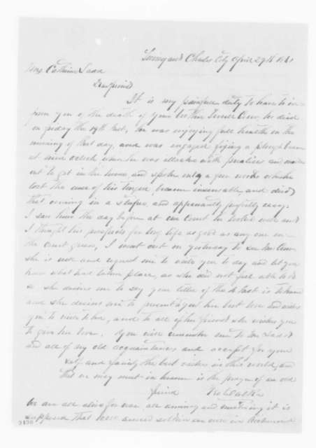 George Walker to Catherine Ladd, Monday, April 29, 1861  (Informs her that her brother died)