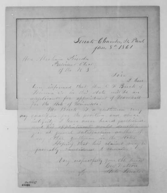 George Watson to Abraham Lincoln, Tuesday, January 08, 1861  (Recommendation)