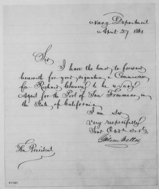 Gideon Welles to Abraham Lincoln, Saturday, April 27, 1861  (Sends commission)