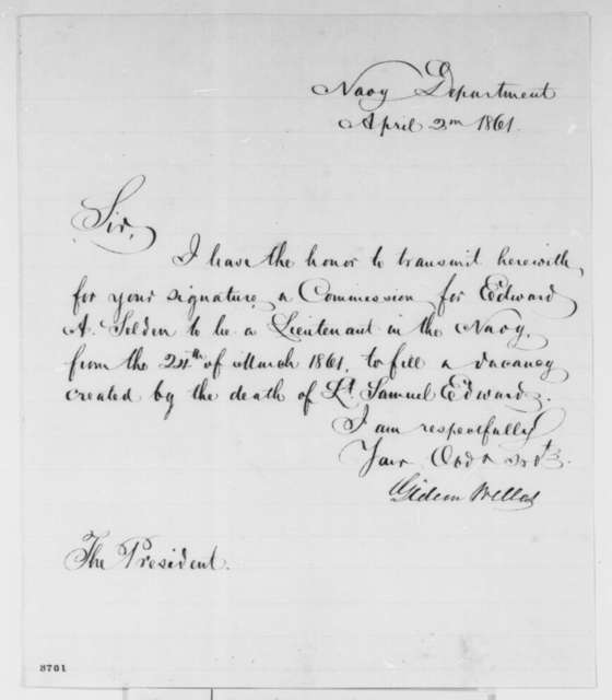 Gideon Welles to Abraham Lincoln, Tuesday, April 02, 1861  (Naval commission)