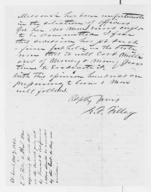 Giles F. Filley to Henry T. Blow, Monday, October 07, 1861  (Government contracts in St. Louis)