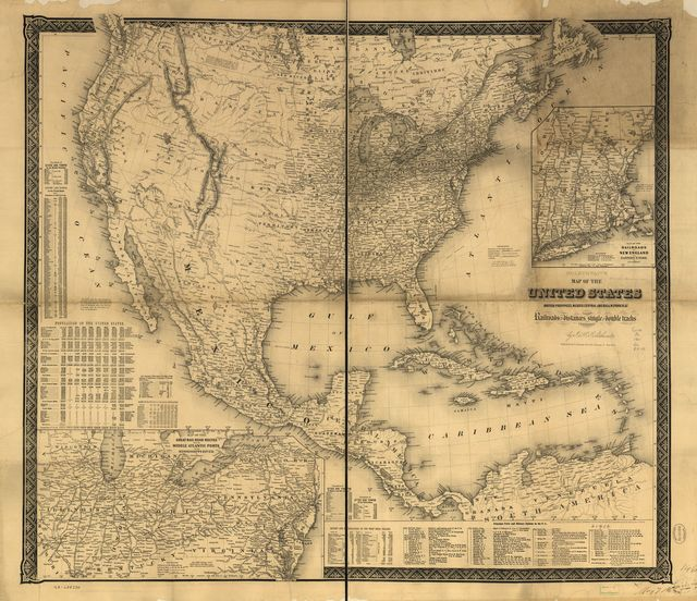 Goldthwait's map of the United States, British Provinces, Mexico, Central America, W. India Is. &c., exhibiting the railroads with their distances, single and double tracks and width of gauge.